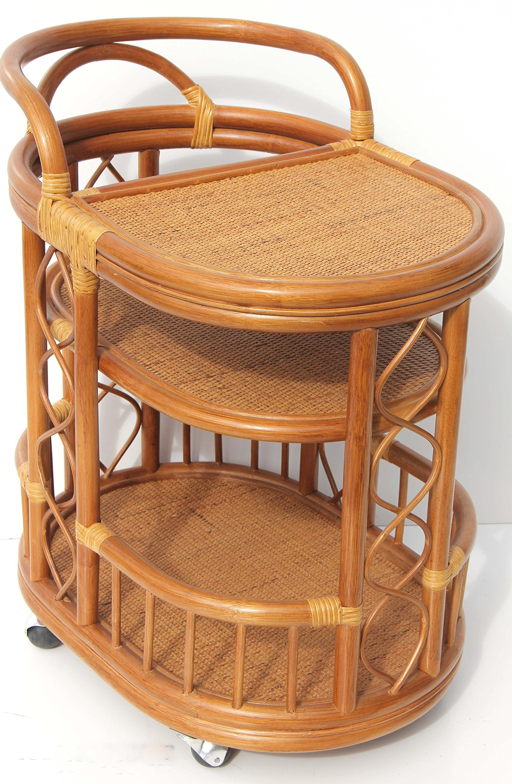 Moving Serving Cart Bar Table Natural Rattan Wicker Exclusive Handmade ECO, Cognac by SunBear Furniture (Image #1)
