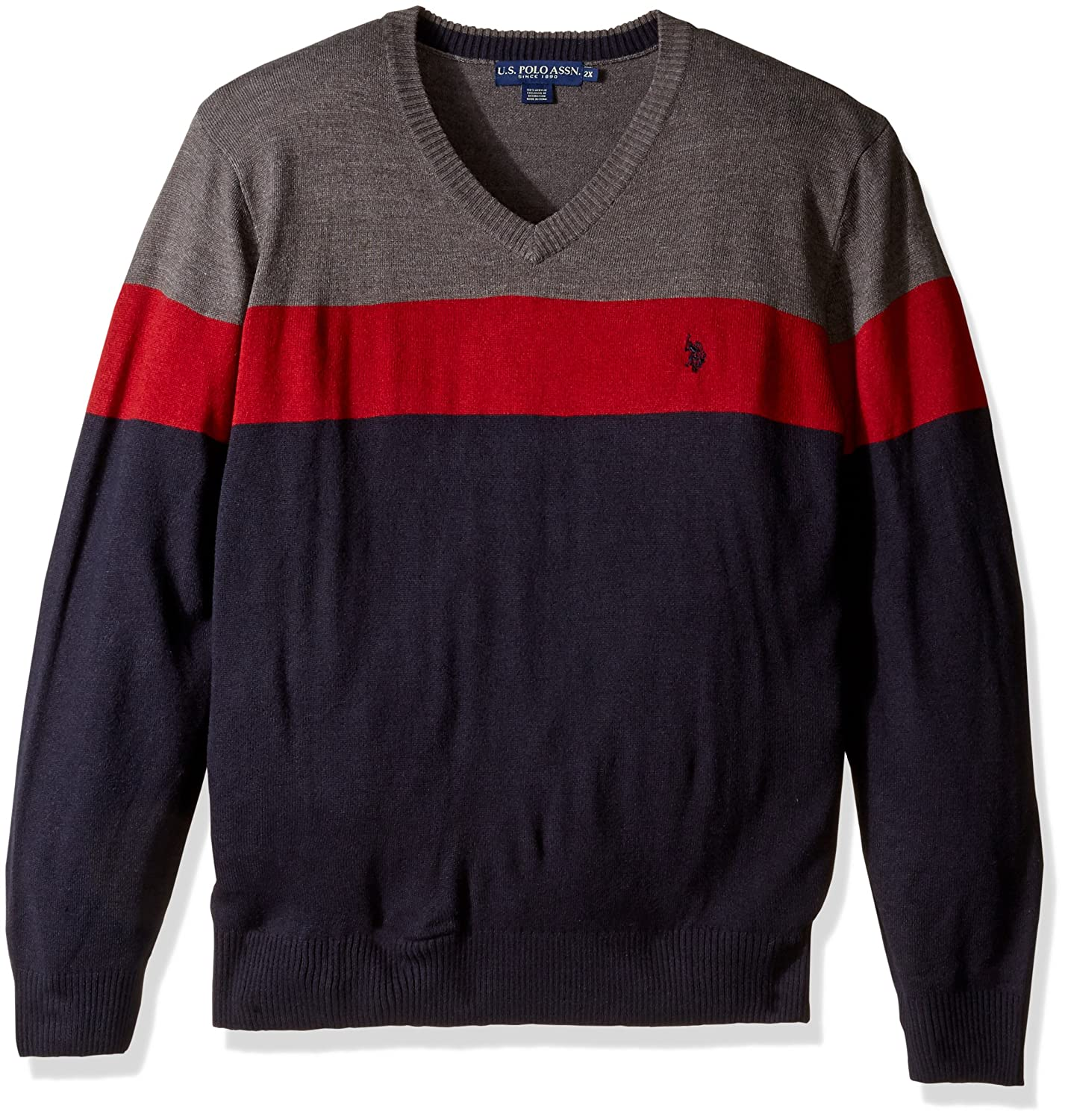 U.S. Polo Assn. Men's All Over Stripe V-Neck Sweater ACUS45474