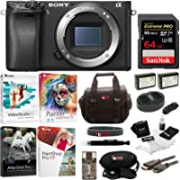 Sony a6300 Mirrorless Digital Camera Body with 64GB SD Card and Battery Pack Bundle