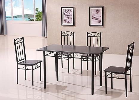 Nuovo nero da cucina tavolo da pranzo e 4 sedie, 5: Amazon.it: Casa ...