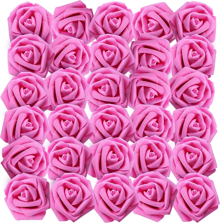 Centres de Table Artificielle Fleurs pour DIY Bouquets de Mariage Home Arrangements Jardin Floraux 50Pcs Parti D/écor - R/éaliste Mousse Faux Roses avec Tige 19 cm Rose Artificielle Fuchsia