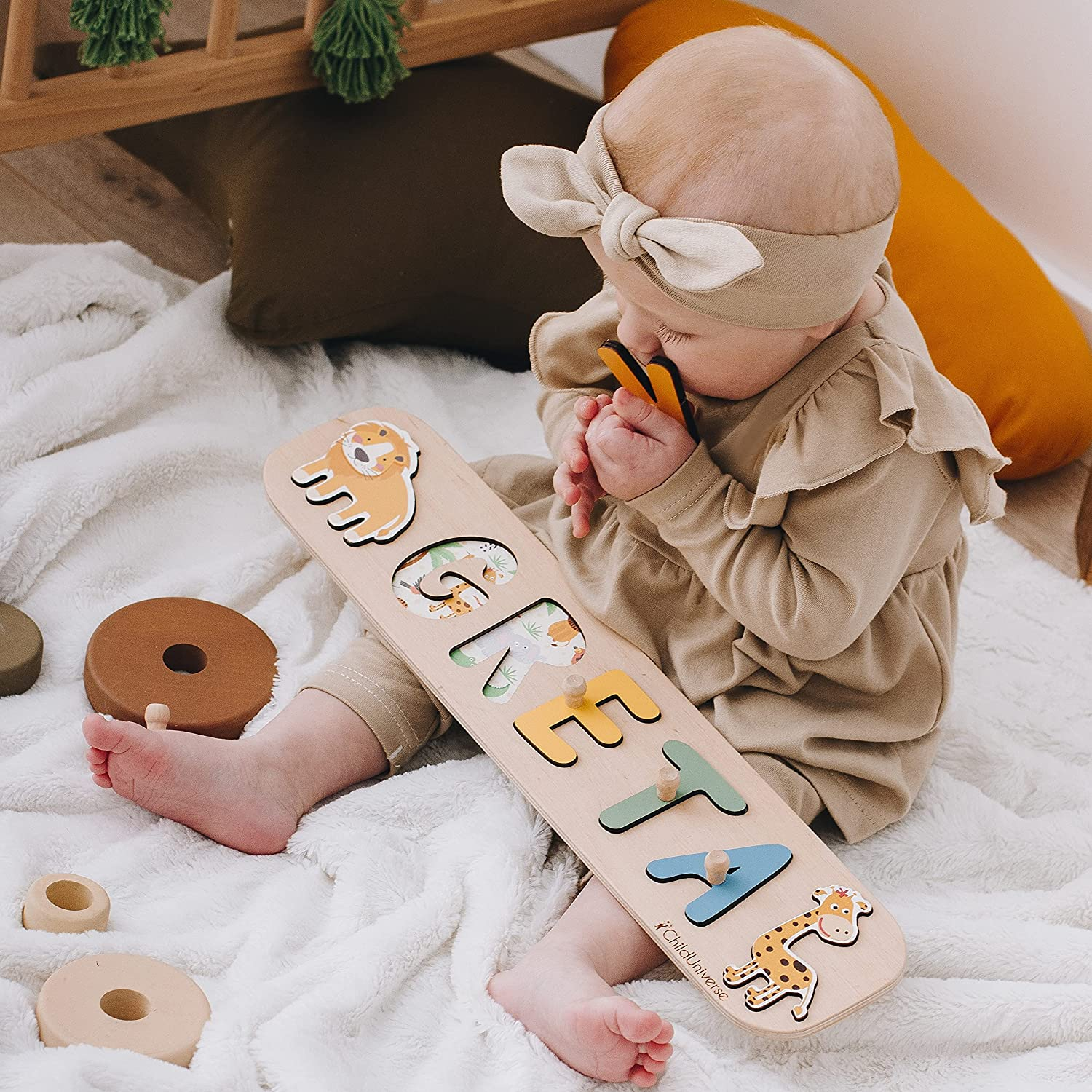 Wooden Puzzle with Cars Personalized Wood Name Puzzle With Pegs Nursery Decor Toddler Name Puzzle For Girls /& Boys