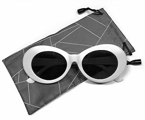 clout goggles bold retro oval mod thick white frame glasses 51mm round black lens - White Frame Glasses