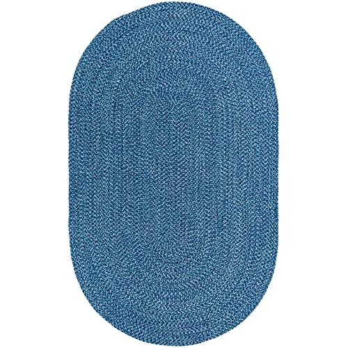 Decomall Azure Solid Color Braided Indoor Outdoor Area Rugs, Blue 3 x5 Oval