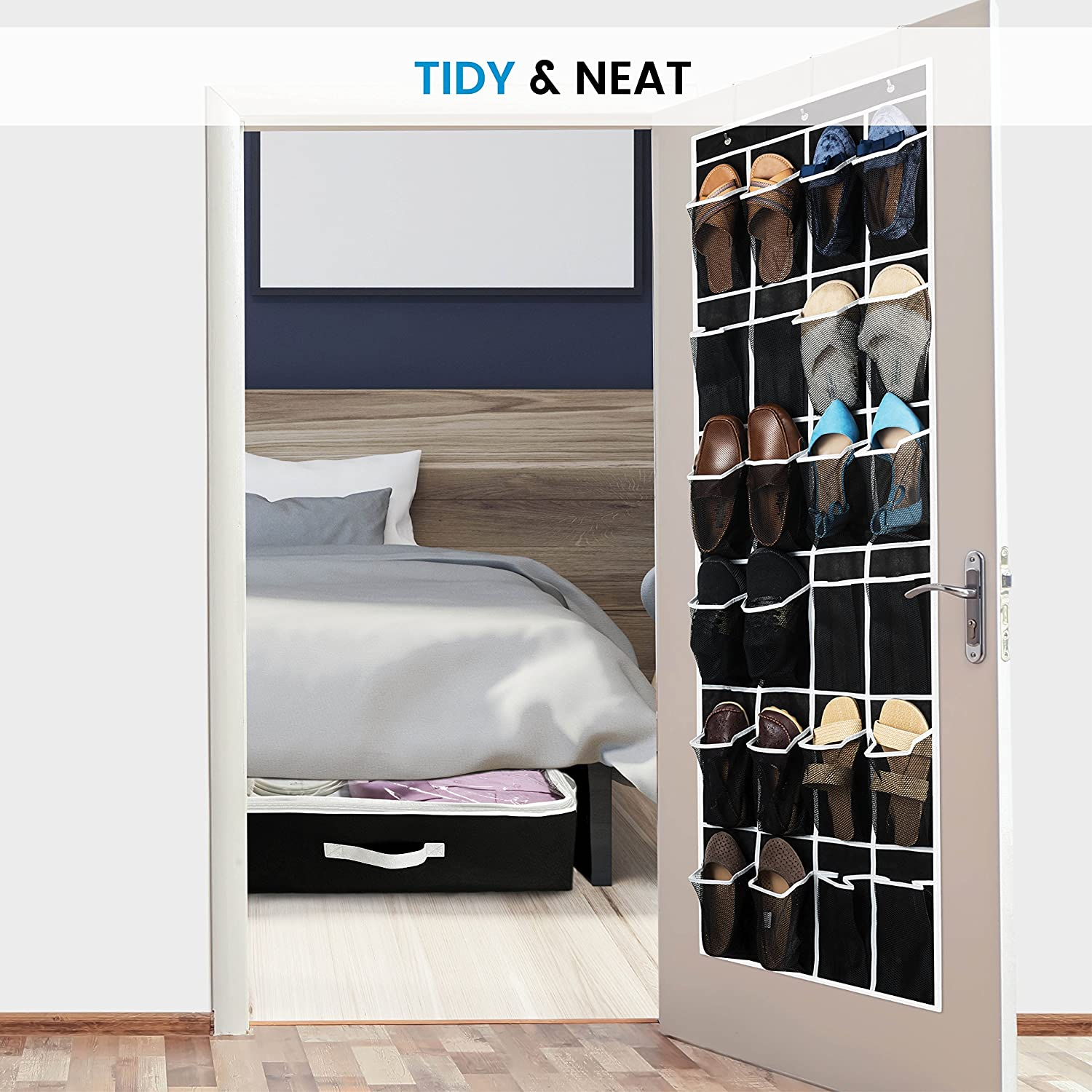 Hanging Shoe Holder for Maximizing Shoe Storage ZOBER Over The Door Shoe Organizer Accessories Toiletries 64in x 18in 24 Breathable Pockets Laundry Items