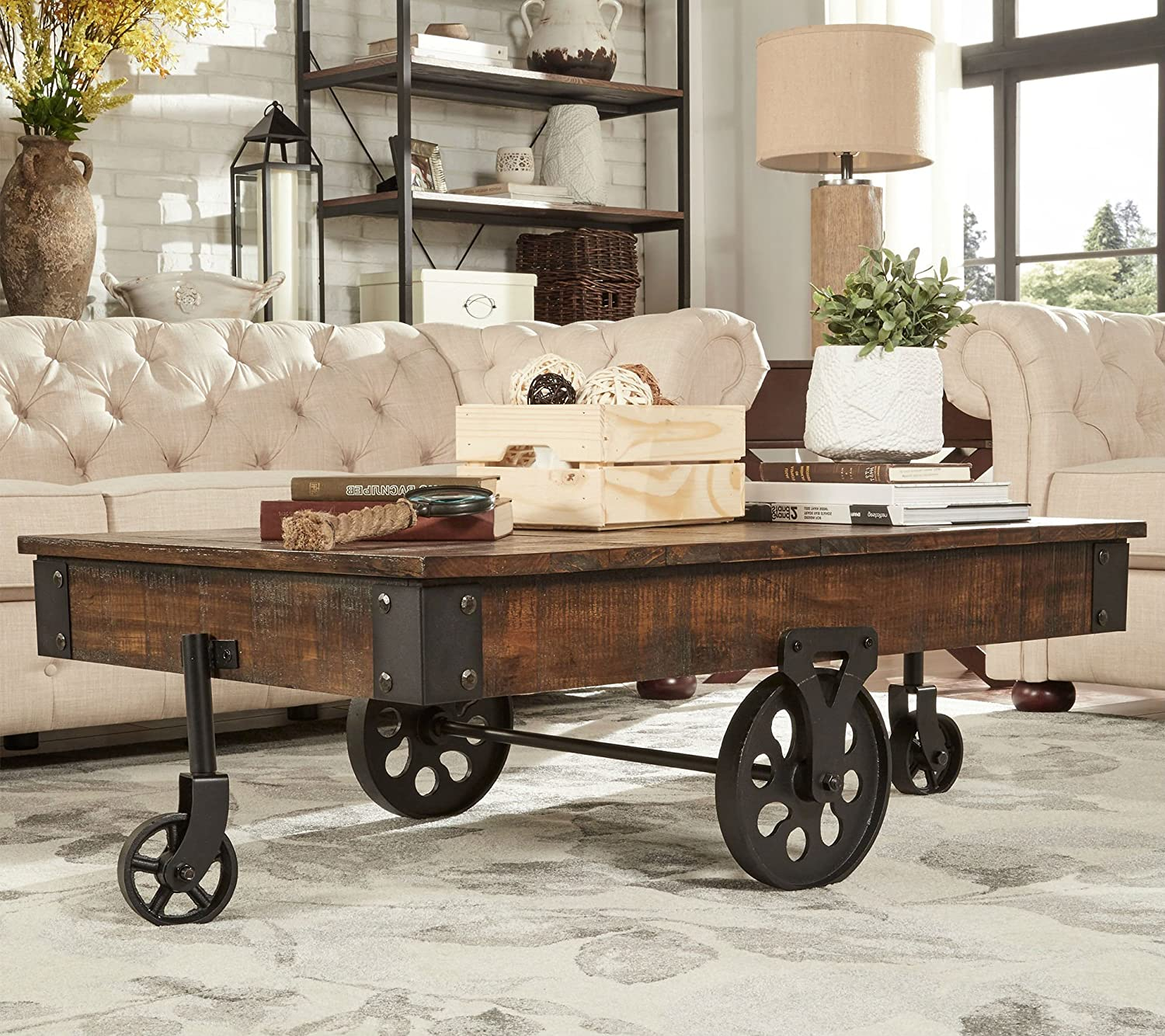 Amazon Com Brown Vintage Cocktail Table With Wheels Is Made From Rustic Weathered Pine Wood Has A Modern Feel Perfect As Ottoman Or Coffee Table Accent Furniture Piece For Front Room Or Living