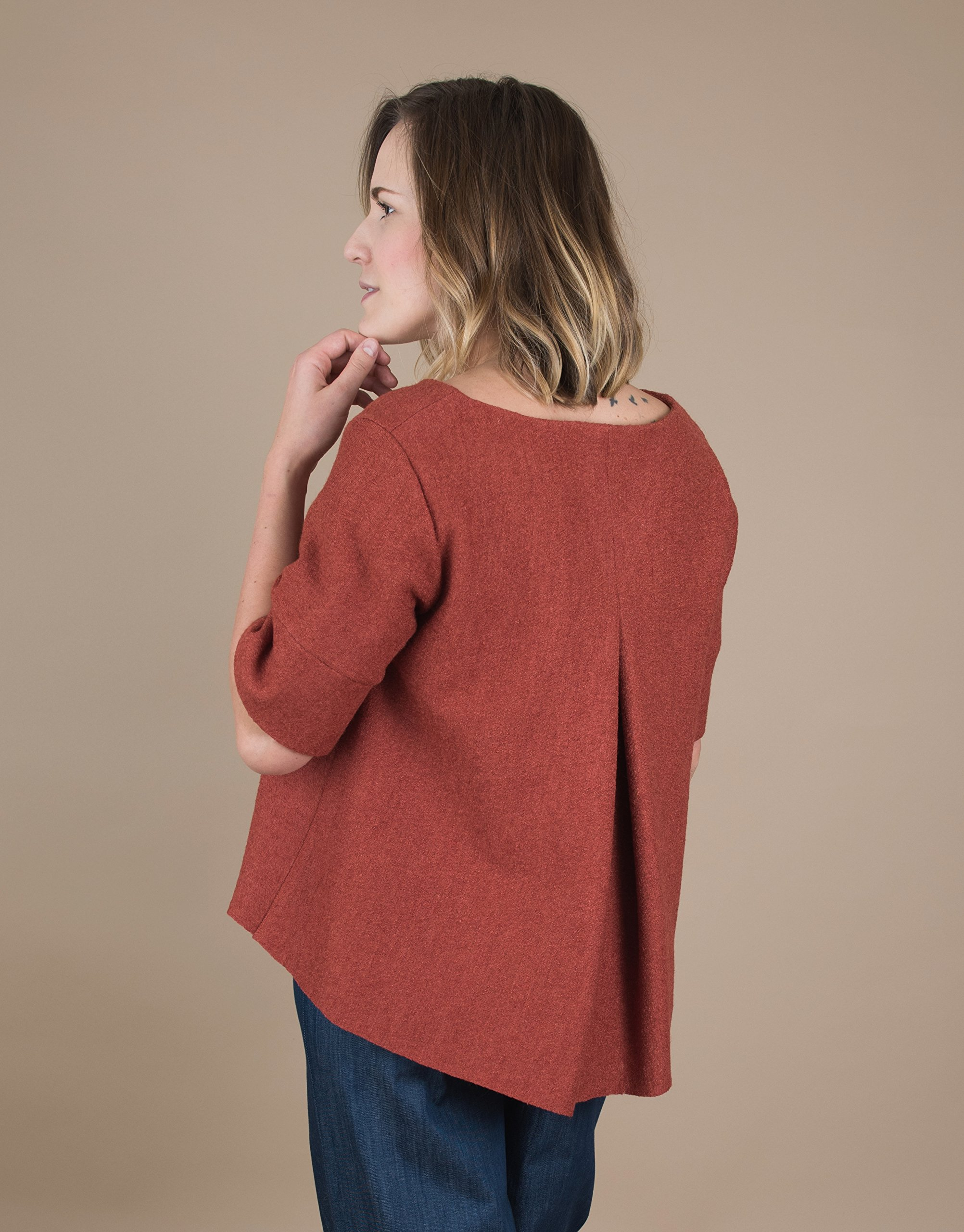 Women's Short Sleeve Brick Wool Sweater