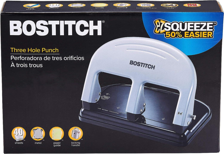 2240 2 Pack PaperPro inPRESS 40 Reduced Effort 3-Hole Punch Silver 40 Sheets