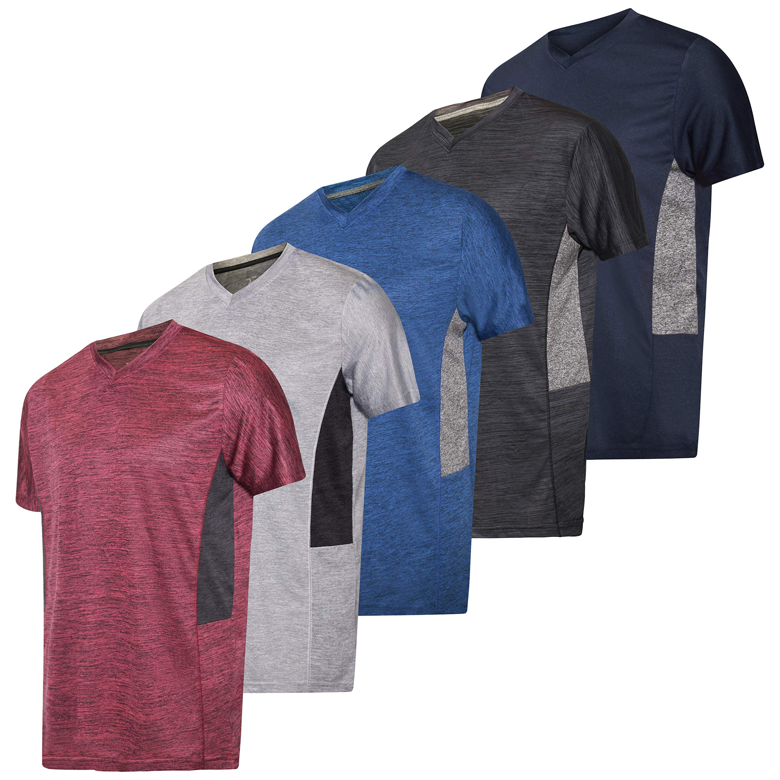 5 Pack:Men's V Neck Quick Dry Fit Dri-Fit Short Sleeve Active Wear Training Athletic Essentials T-Shirt Tee Fitness Gym Workout Undershirt Top-Set 5,S by Real Essentials