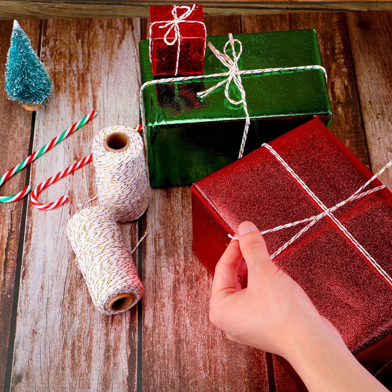 2 Rollos de Hilo de Navidad 2 mm de Cordel de Envolver Regalo Cuerda de  Algod e95bf715421