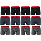 Classic Mens Boxers (12 Pack) soft rib cotton Boxers with Red waistband