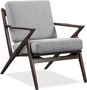 Edgemod Skane Dark Walnut Lounge Chair, Light Grey