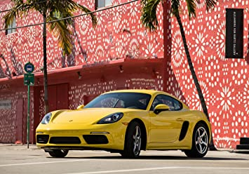 Porsche 718 Cayman S (2017) Car Print on 10 Mil Archival Satin Paper Yellow