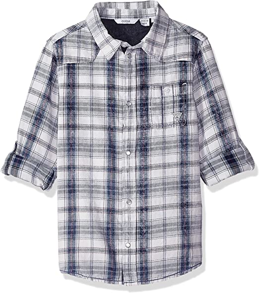 GUESS Boys Roll Up Sleeve Checkered Graphic Button Down
