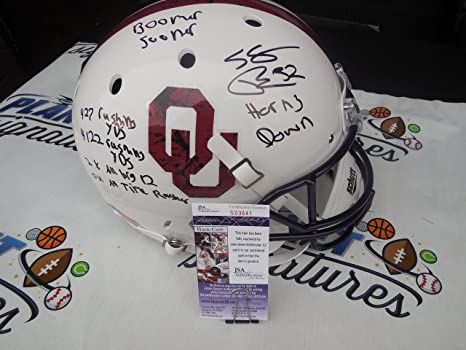 9fdb19d15 Samaje Perine Signed Oklahoma OU Sooners Bring the Wood Full Size Helmet  with STATS JSA COA