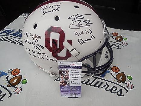 Samaje Perine Signed Oklahoma OU Sooners Bring the Wood Full Size Helmet  with STATS JSA COA 76f98b5c7