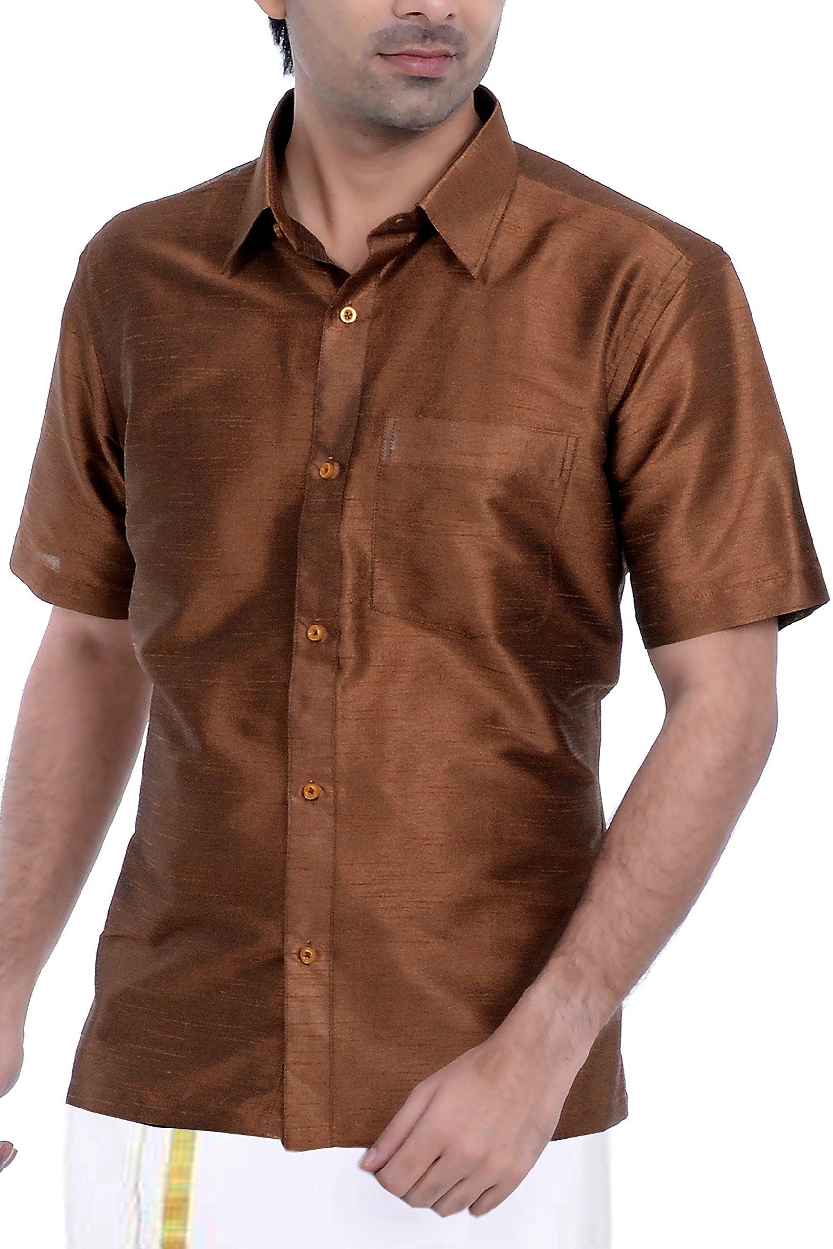Vastramay Men's Cotton Silk Solid Casual Shirt 42 Brown