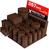 X-PROTECTOR Premium HUGE PACK Felt Furniture Pads 357 pcs! HUGE QUANTITY of Felt Pads For Furniture Feet with MANY BIG SIZES ? Your IDEAL Wood Floor Protectors. Protect Your Hardwood & Laminate Floor!