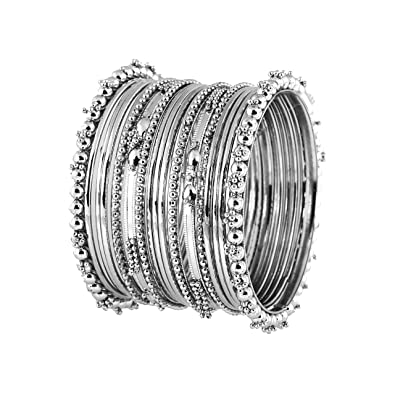 7d01778cc3374 Meenaz Silver Plated Traditional Bracelet Bangles Set For Women (2.4)   Amazon.in  Jewellery
