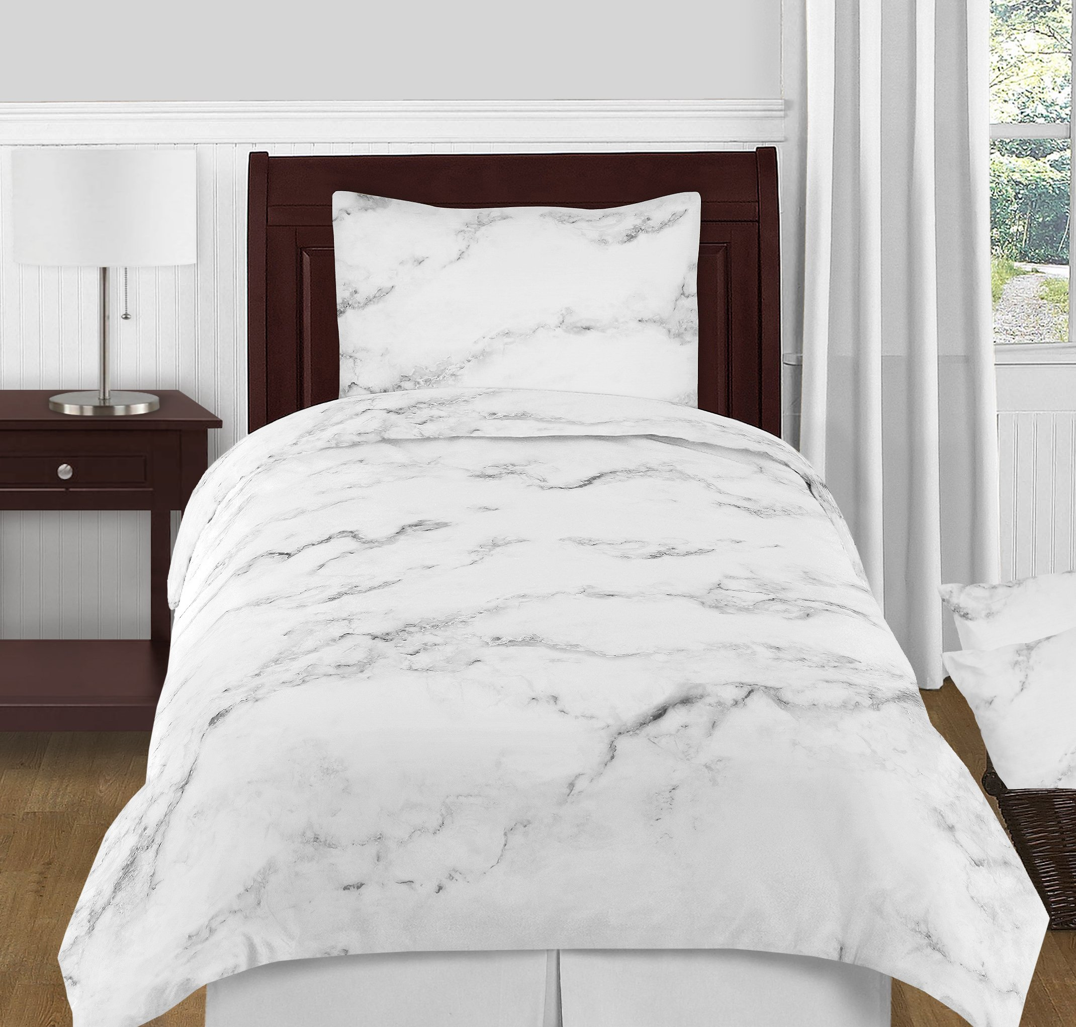 Sweet Jojo Designs 4-Piece Modern Grey, Black and White Marble Twin XL Size Teens College Bedding Set Collection
