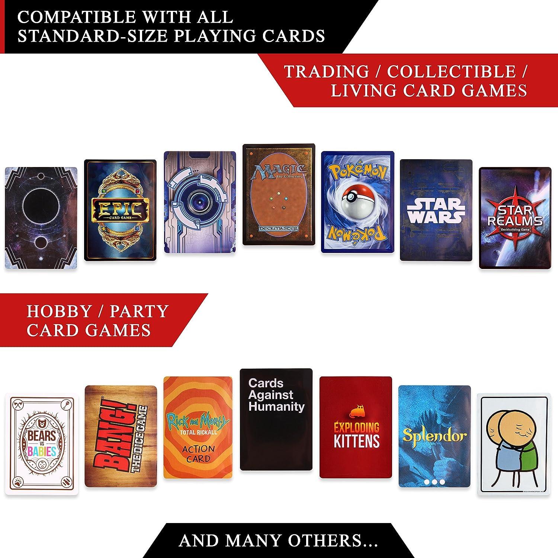 Quiver Time Quiver Valigetta Nera di Pelle PU per Giochi di Carte con Doppia Cerniera Divisori Cinturini da Polso /& Spalla
