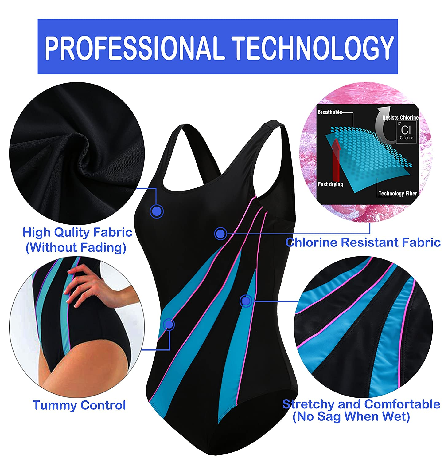 EBMORE Womens One Piece Swimsuit Bathing Suit Chlorine Resistant for Athletic Sport Training Exercise