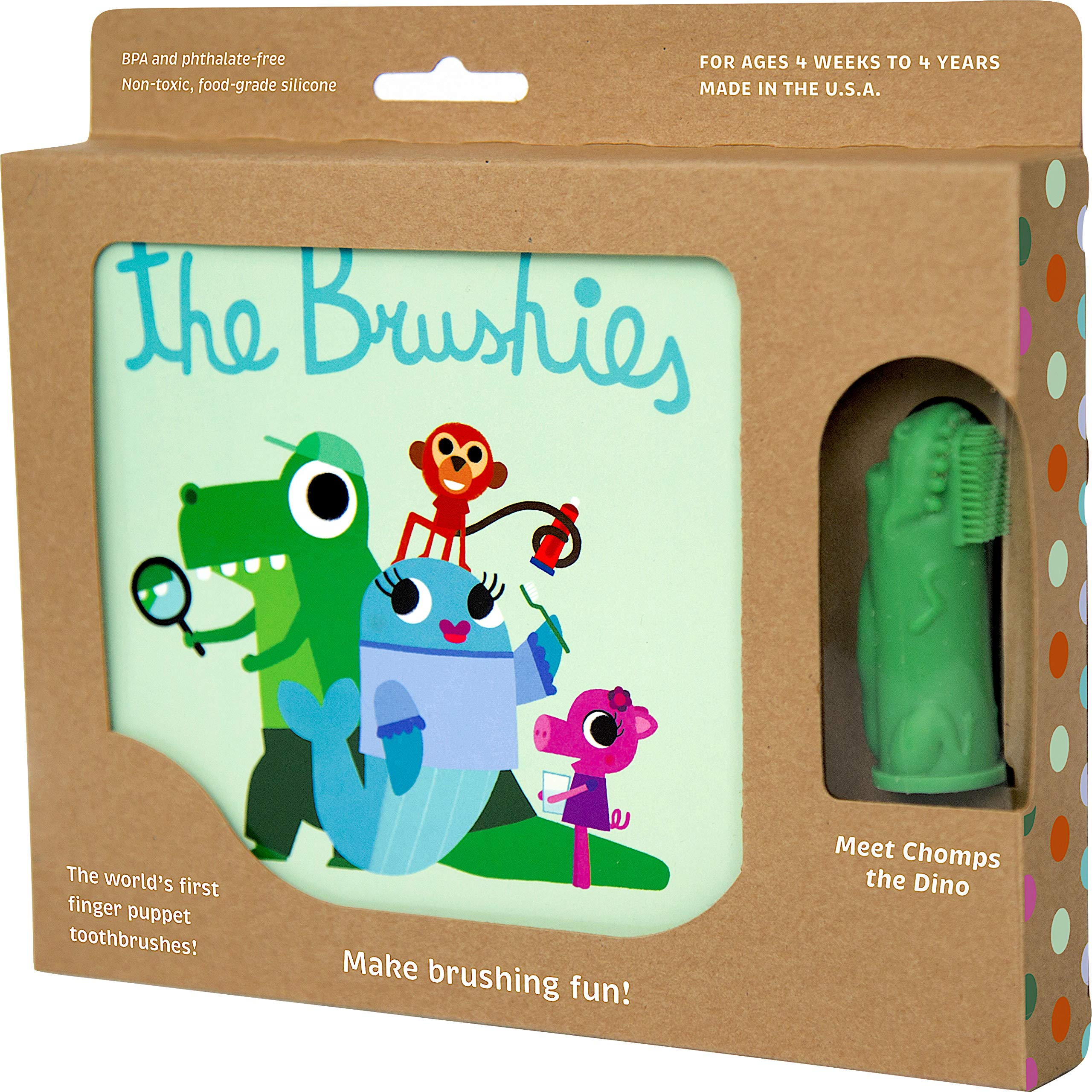 The Brushies Baby & Toddler Toothbrush & Storybook Set, Chomps The Dino