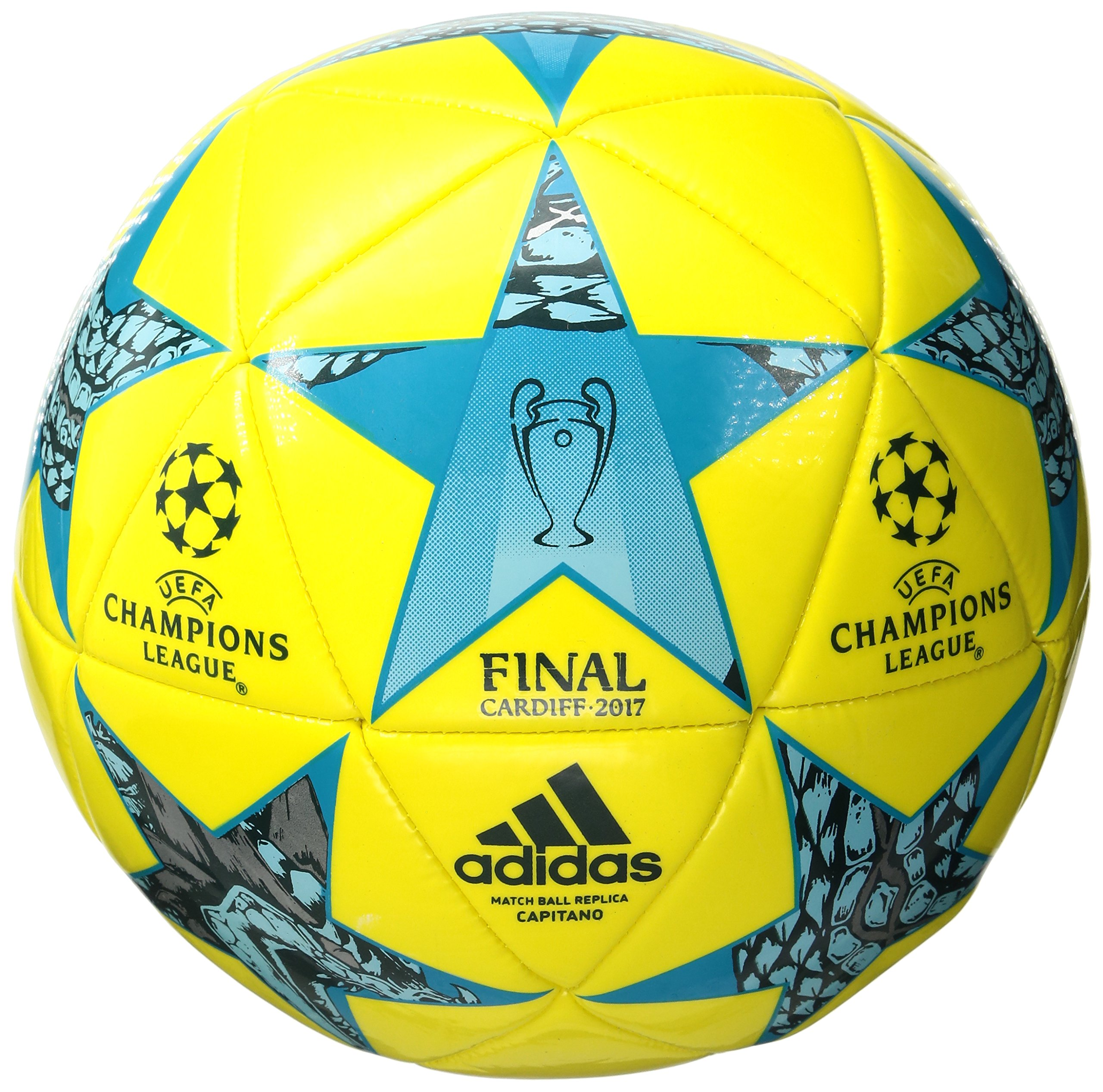 433671143cd62 adidas Performance Champions League Finale Cardiff Capitano Soccer Ball,  Bright Yellow/Clear Aqua/Energy Blue, Size 5