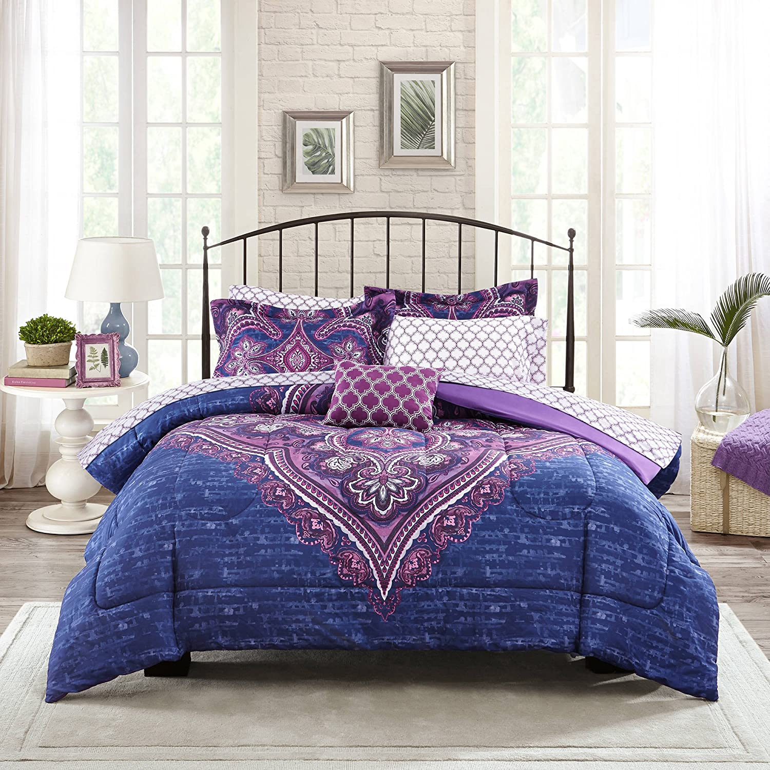 Mainstays Teens' Grace Purple Floral Reversible Medallion Bedding Queen Comforter Sets for Girls 7 Piece in a Bag
