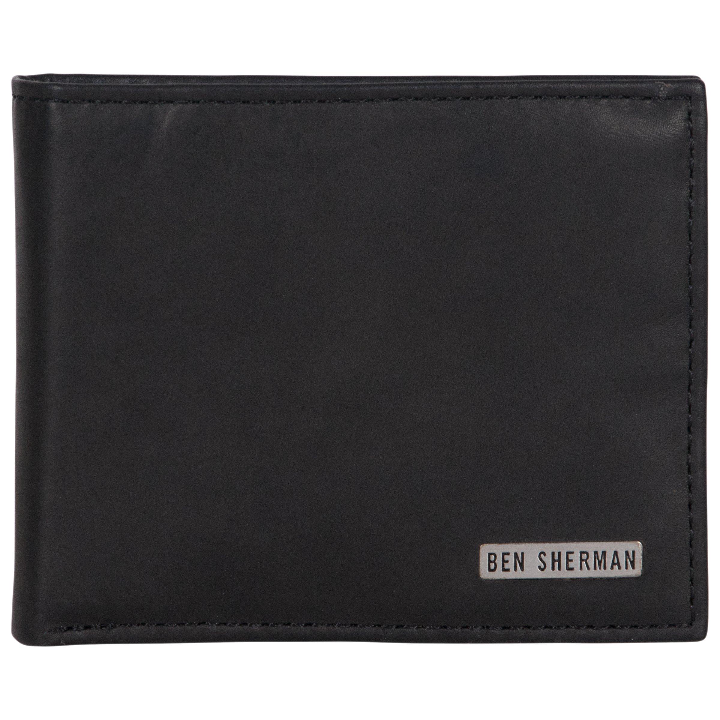 Ben Sherman Men's Leather Nine Pocket Bi-Fold Passcase Wallet with Id Window (Rfid), Black