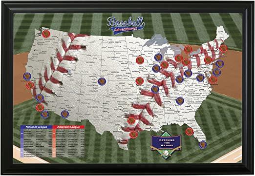 Baseball Push Pin Travel Map