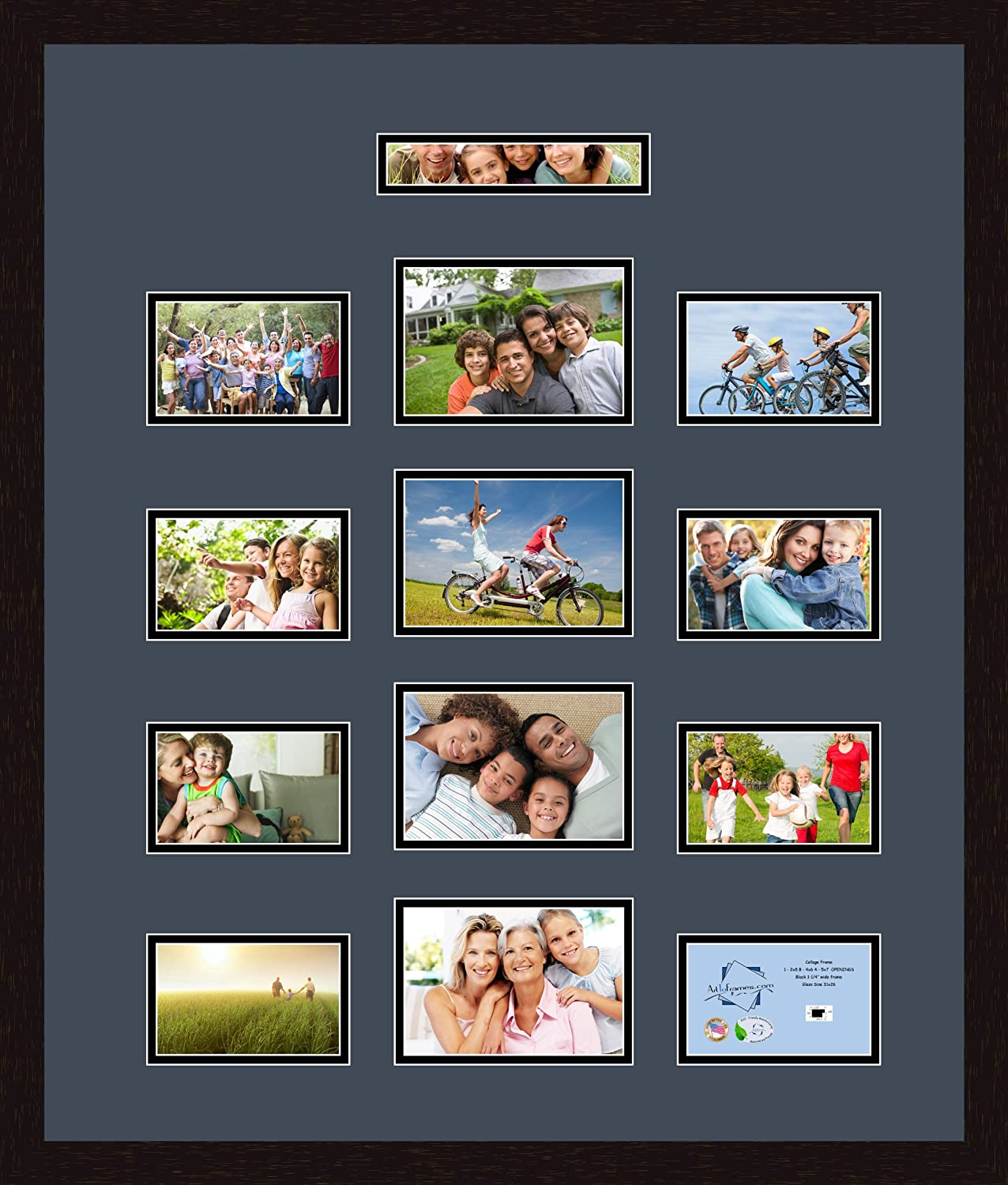 Art to Frames Double-Multimat-383-586//89-FRBW26061 Collage Frame Photo Mat Double Mat with 1-2x8 and 4-5x7 and 8-4x6 Openings and Espresso Frame