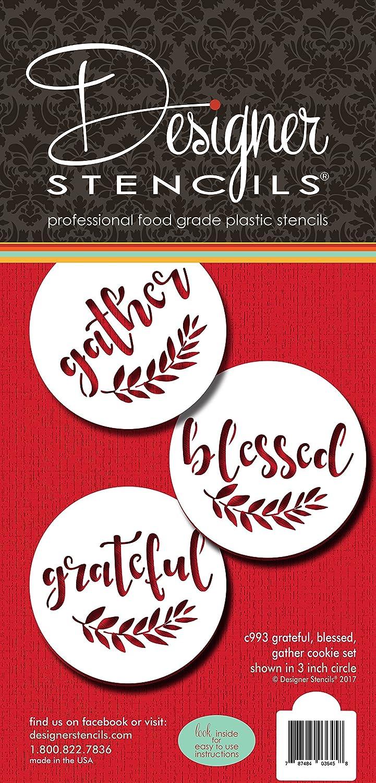Grateful, Blessed And Gather Cookie Stencil C993 by Designer Stencils 787484036458