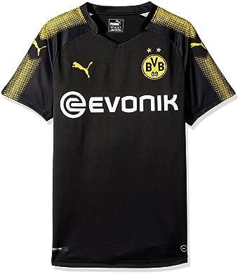 PUMA Men's BVB Away Replica Shirt With Sponsor Logo, Black/Cyber Yellow,  Small