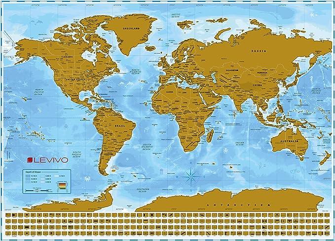 Levivo Mapamundi para rascar, mapa XXL con capa metálica para rascar, adecuado para jugar, aprender y marcar los destinos de los viajes: Amazon.es: Hogar