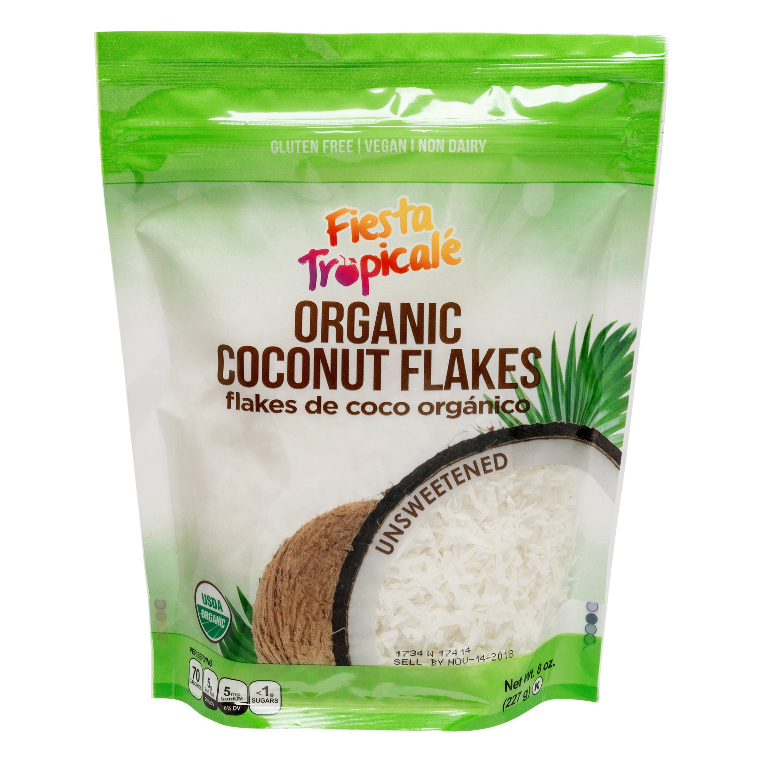 Fiesta Tropicalé Organic Coconut Flakes, Unsweetened, 8 oz. (Pack of 3)