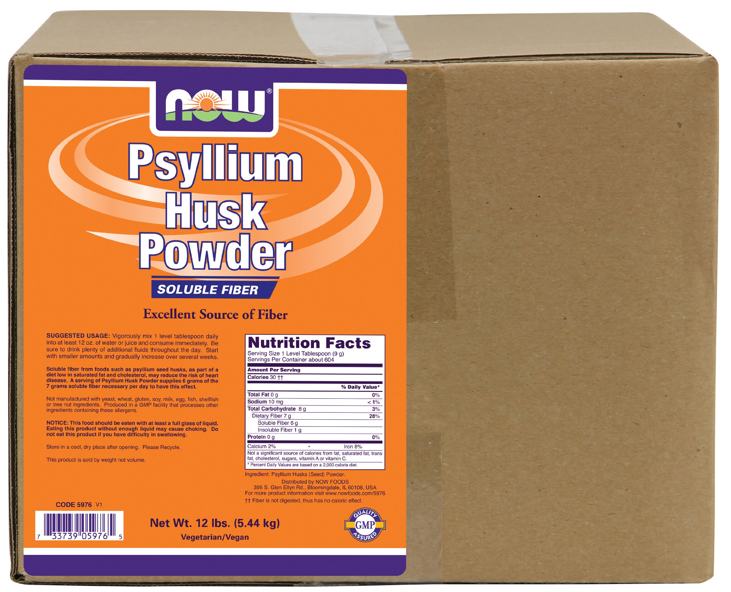 NOW Supplements, Psyllium Husk Powder, 12-Pound by NOW Foods