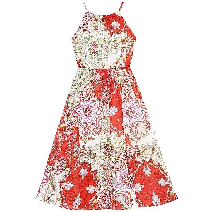 Sunny Fashion Vestido para niña rojo Floral Gasa Resbalón Midi El verano playa Fiesta 10 años