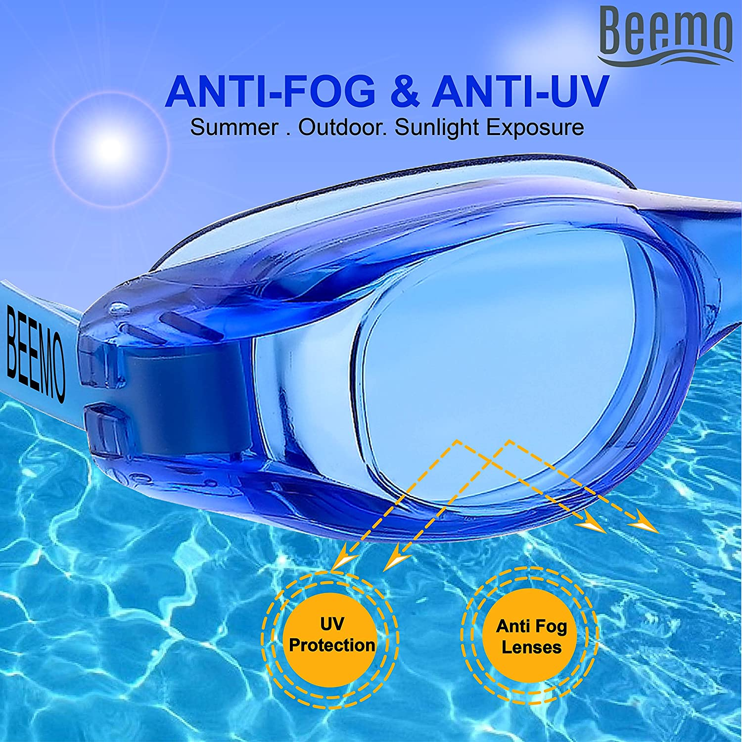 38c796aee90 Amazon.com   Swimming Goggles for Kids and Early Teens (Ages 7-12)-Blue-  Universal Leak Resistant Eye Fit