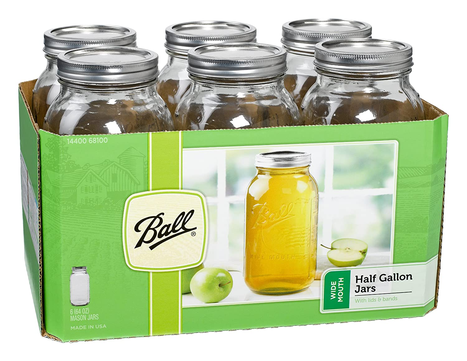 Amazon.com: Ball Wide Mouth Half Gallon 64 Oz Jars With Lids And Bands, Set  Of 6: Canning Jars: Kitchen U0026 Dining