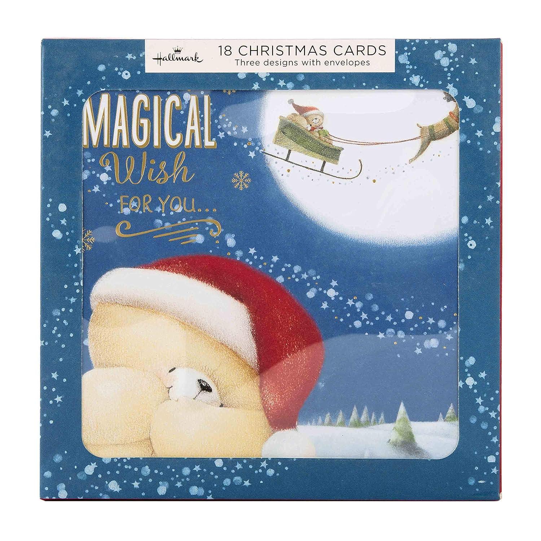 3 dise/ños Hallmark 18 tarjetas Tarjeta de felicitaci/ón navide/ña con texto en ingl/ésForever Friends