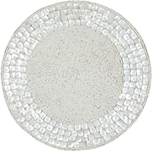 Life By Cotton Farmhouse Beaded Placemats for Dining Table- 14 inch Dia Off White, Beaded Placemats Round for Gathering, Occasional Decoration and Family Parties Celebrations,Set of 1