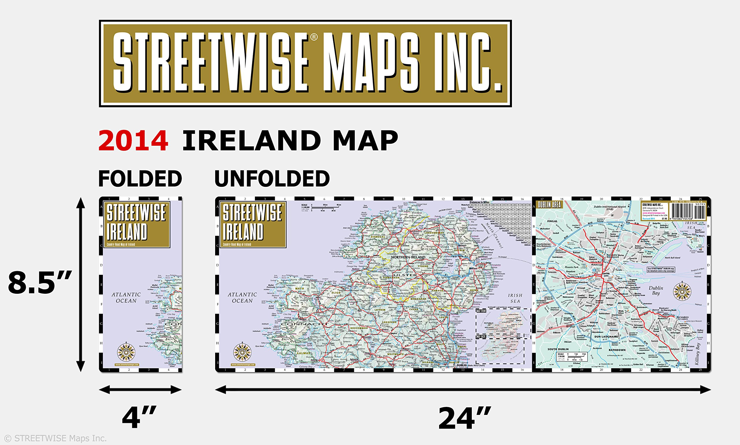 Country Of Ireland Map.Streetwise Ireland Map Laminated Country Road Map Of Ireland