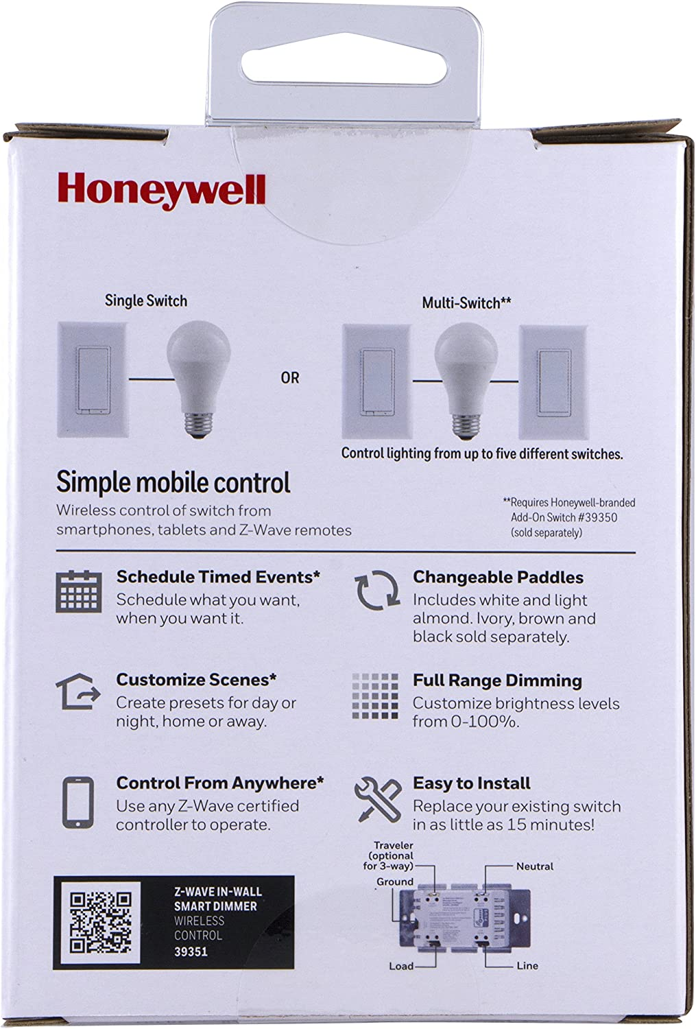 Built-In Repeater /& Range Extender Honeywell Z-Wave Plus Smart Light Dimmer Switch 39351 Interchangeable White /& Almond ZWave Hub Required Wink Alexa Compatible In-Wall Paddle SmartThings