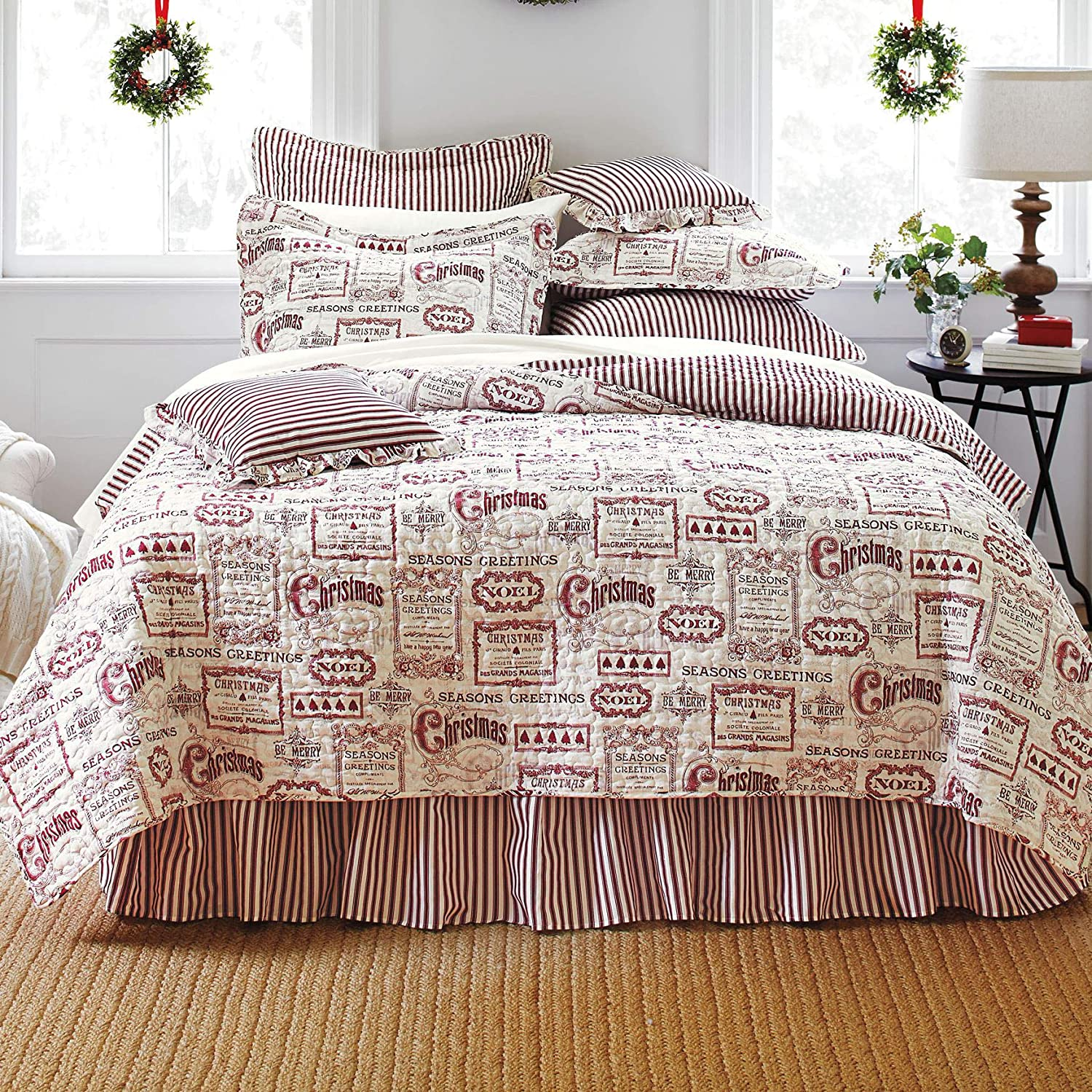 BrylaneHome Vintage Christmas 4-Pc. Quilt Set - Ivory Red