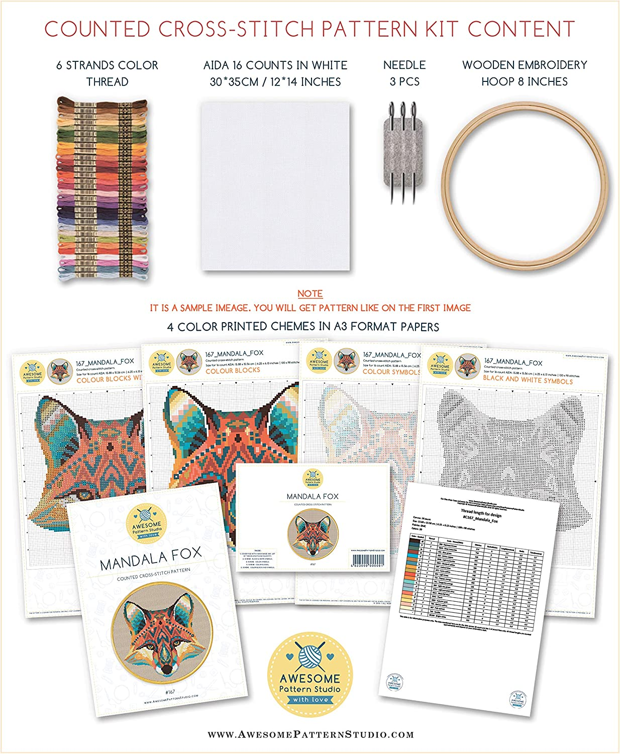 Embroidery Pattern Kit Brain K108 Counted Cross Stitch KIT#2 Threads Fabrick and 4 Printed Color Schemes Inside Needles