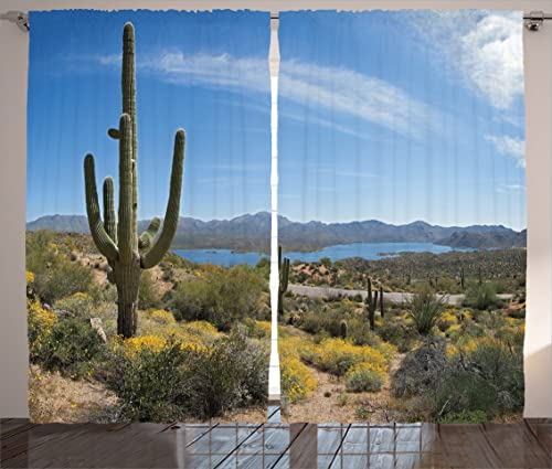 Ambesonne Saguaro Curtain