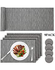 Tencoz Placemats, Table Mats Set with 4 x Placemats+4 x Coasters+1x Long Table Mat Resistant Anti Slip Table Place Mats and Coaster Sets for Home Restaurant (Grey)