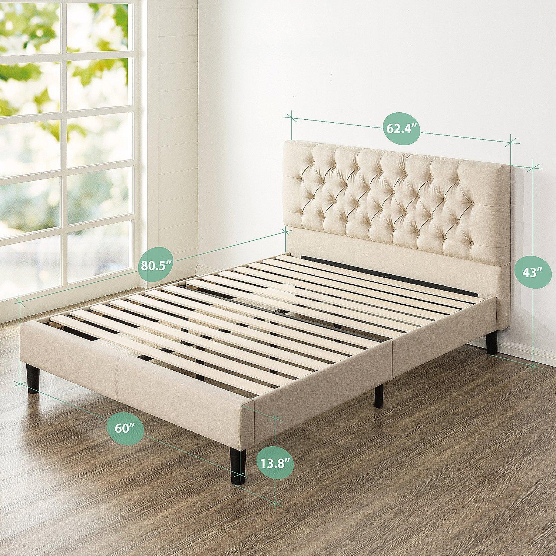 Zinus Misty Platform Bed, Queen, Taupe