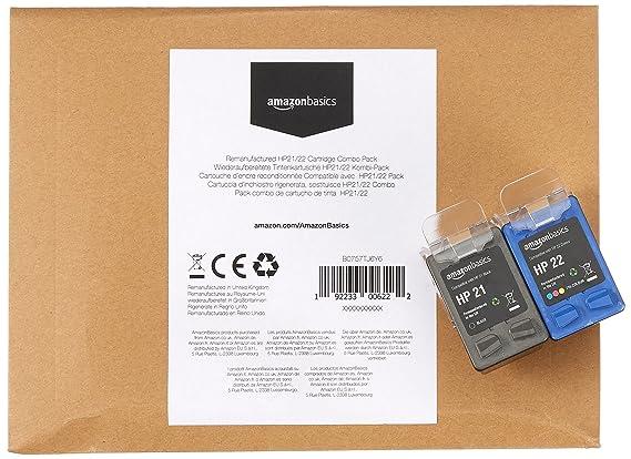 a052141bb329b8 AmazonBasics Cartouche d encre reconditionnée pour HP 21 et HP 22, Noir et  3 couleurs  Amazon.fr  Fournitures de bureau